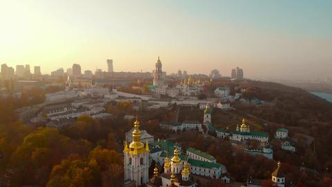 Architecture Kiev Pechersk Lavra on sunset, aerial Live Action