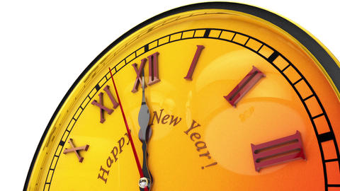 Happy New Year 2020... The Clock, midnight... Gold figures rotate around its axis, changing the date Animation