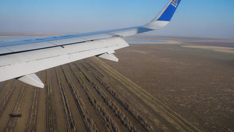 Aerial view from descending airplane Archivo