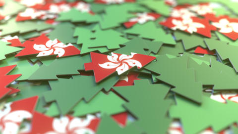 Details of flag of Hong Kong on the cardboard Christmas trees. Winter holidays Footage