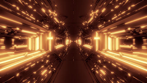 futuristic scifi fantasy tunnel with holy christian glowing cross 3d Animation