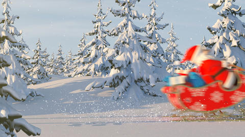 Santa Claus with Reindeer Goes on the Way Animation