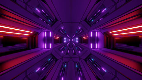 futuristic scifi fantasy space hangar tunnel corridor with glowing lights 3d Animation