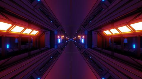 futuristic scifi fantasy space hangar tunnel corridor with holy christian Animation