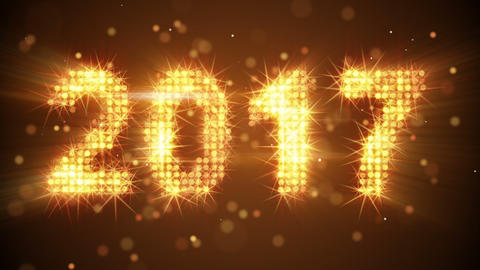 new year 2017 greeting glowing orange particles loop Animation