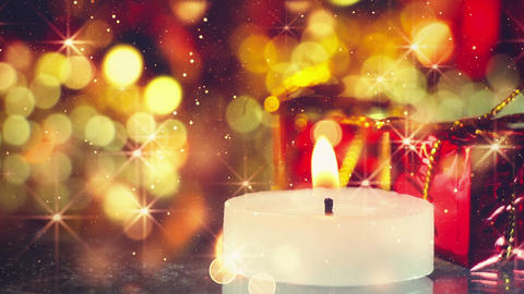 candle and glittering christmas background seamless loop Footage