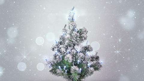 christmas tree and silver sparkles lights loopable Footage