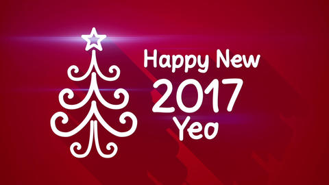 happy new 2017 year greeting loop Animation