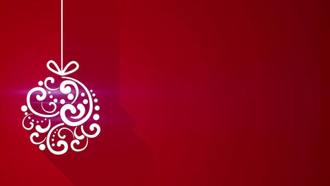 christmas ball decoration with long shadows on red Animation