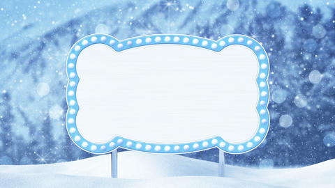 blank billboard and christmas landscape loop Animation
