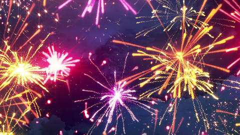 beautiful fireworks with lots of multicolor bangs loopable Animation