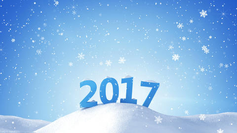 new year 2017 sign in snow drift loopable Animation