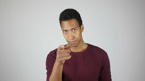 Young Black Man Pointing with Finger, Toward Camera Footage