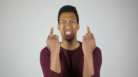 Fuck You, Showing Middle Finger with Both Hand, Gesture By Angry Man Footage