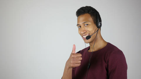 Thumbs up by Positive Call Center operator, Customer Service Quality Footage