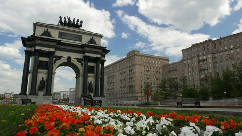 Triumphal Arch at Victory Square, wide angle time lapse shot Footage