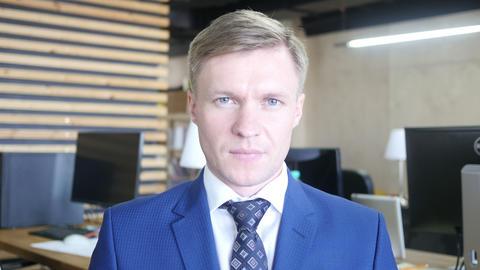 Portrait of successful smiling Businessman entrepreneur... Stock Video Footage