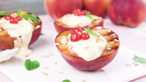 Grilled peaches dessert Footage