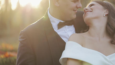 Lovely groom and bride. Wedding day. First look of young…, Live Action