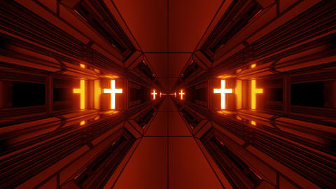 clean futuristic scifi fantasy space hangar tunnel corridor with holy christian Animation