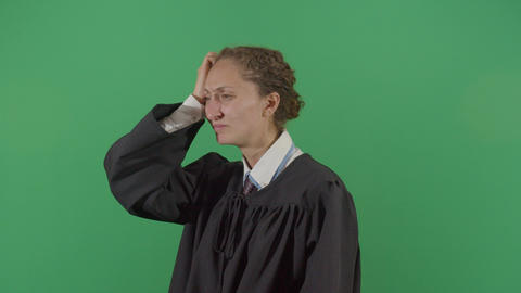Confused Woman Judge Scratching Head Live Action