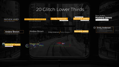 Glitch Lower Thirds Plantilla de After Effects