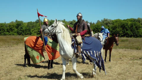 medieval cavalry during historical festival Footage