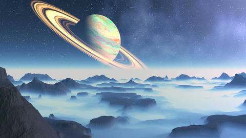 Saturn On A Background Alien Landscape Animation