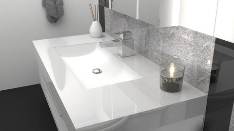 animation of modern bathroom with black and white granite stone Animation