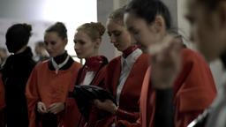 Models at the backstage of fashion week . Backstage fashion show Footage