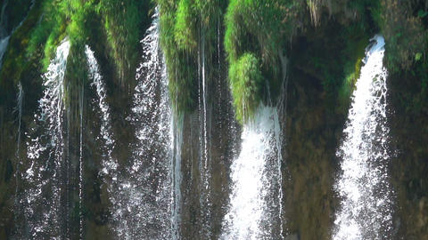 Waterfall Close-Up. Flight of Water. Slow Motion Footage