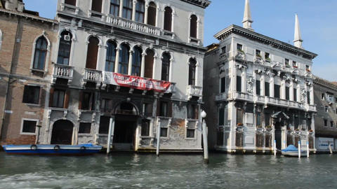 VENICE, ITALY - July 15, 2015: The waterfront of the Grand canal in Venice Footage