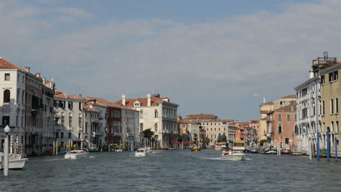 VENICE, ITALY - July 15, 2015: the Grand canal in Venice, boats passing in the c Footage
