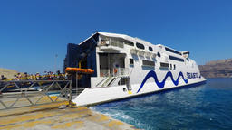 Time lapse - Tourists arriving and boarding the Santorini - Ios ferry line on bo Footage