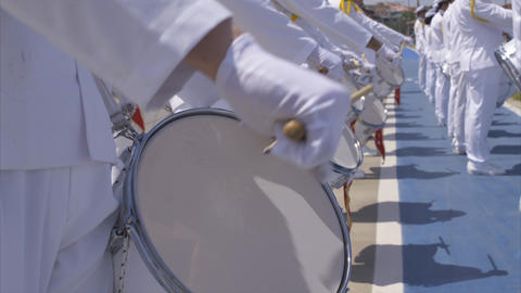 Close-up Military Marching Band - Drums Footage