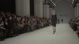 Fashion week in action . The catwalk with models during a fashion show Footage