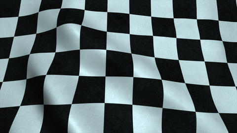 Realistic Ultra-HD checker flag waving in the wind Animation