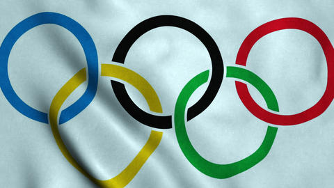 Olympic games flag waving Stock Video Footage