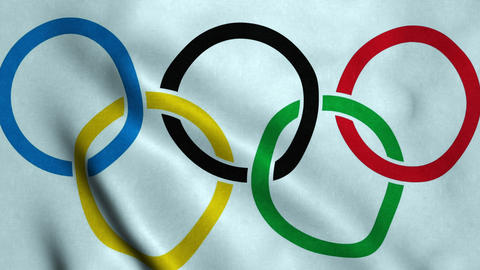 Olympic games flag waving Animation