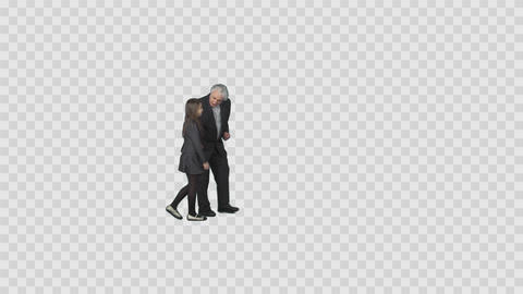Aged man and little girl are strolling and talking. On transparent background Live Action