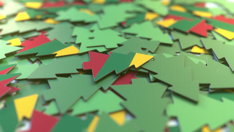 Details of flag of Lithuania on the cardboard Christmas trees. Winter holidays Footage