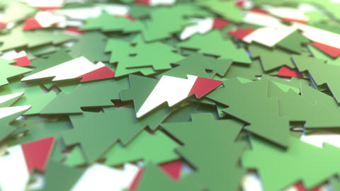 Details of flag of Hungary on the cardboard Christmas trees. Winter holidays Footage