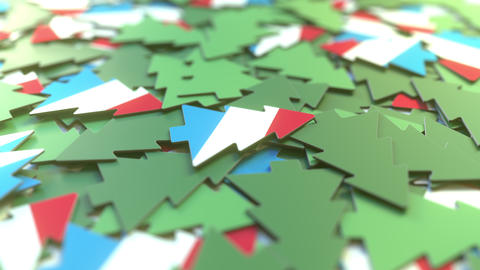 Details of flag of Luxembourg on the cardboard Christmas trees. Winter holidays Footage