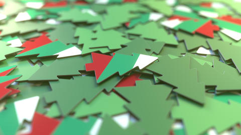 Details of flag of Bulgaria on the souvenir Christmas trees. Winter holidays Live Action