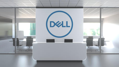Logo of DELL CORPORATION on a wall in the modern office, editorial conceptual 3D Live Action