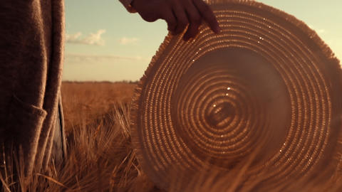 close up woman holds her hand with a hat over the golden grain Footage