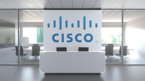 Logo of CISCO on a wall in the modern office, editorial conceptual 3D animation Live Action