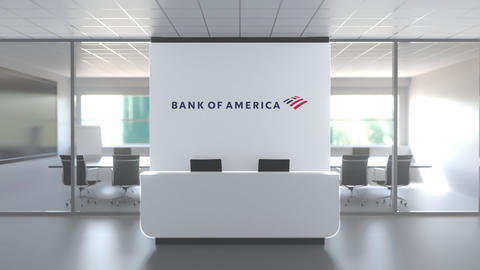 Logo of BANK OF AMERICA on a wall in the modern office, editorial conceptual 3D Live Action