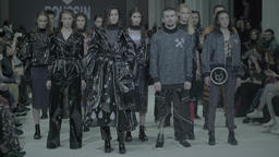 Fashion week. A group of models on the catwalk Footage