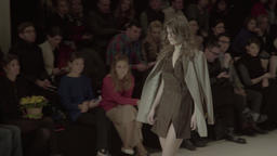 Girl model shows a dress during a fashion show Footage